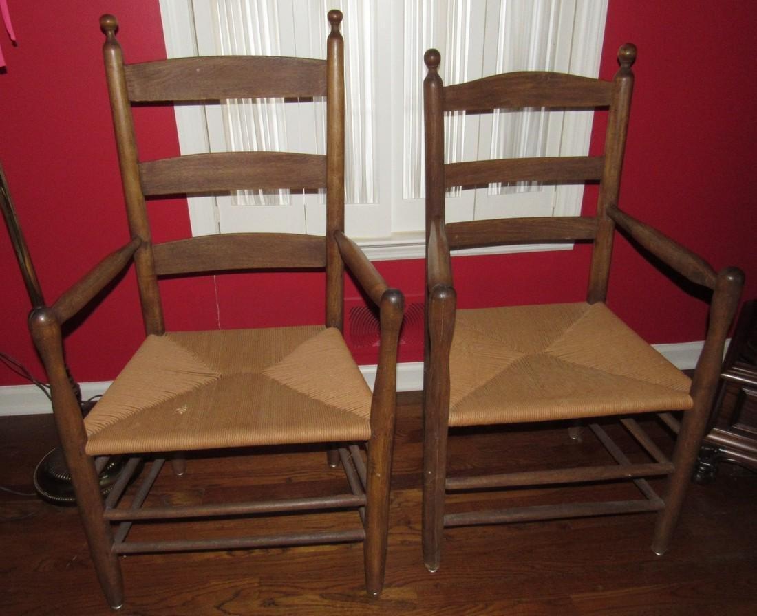 2 Arm Chairs w/ Rush Seats