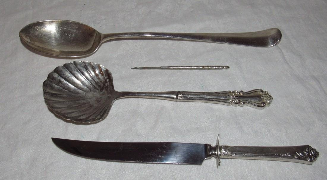Serving Spoons & Knife w/ Sterling Silver Handle