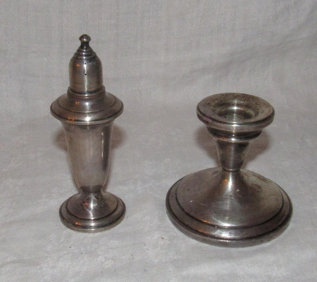 Sterling Silver Empire Salt Shaker & Candle Holder