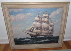 H Howe Ship Seascape Oil on Canvas Painting