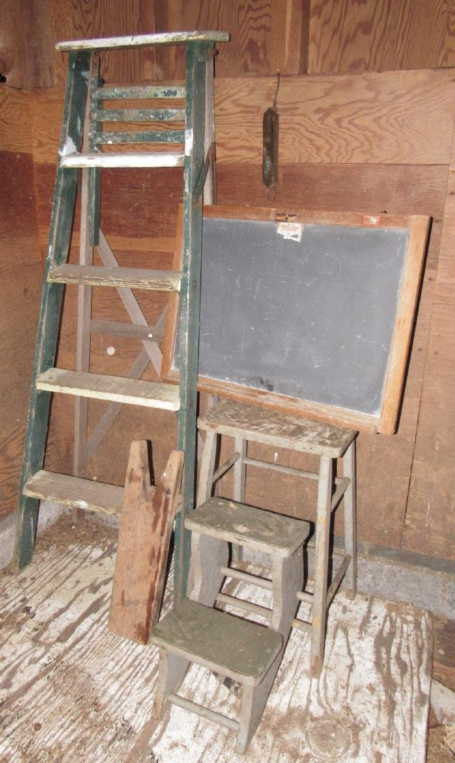 Ladder Step Stool Chalkboard Scale & Wood Bootjack