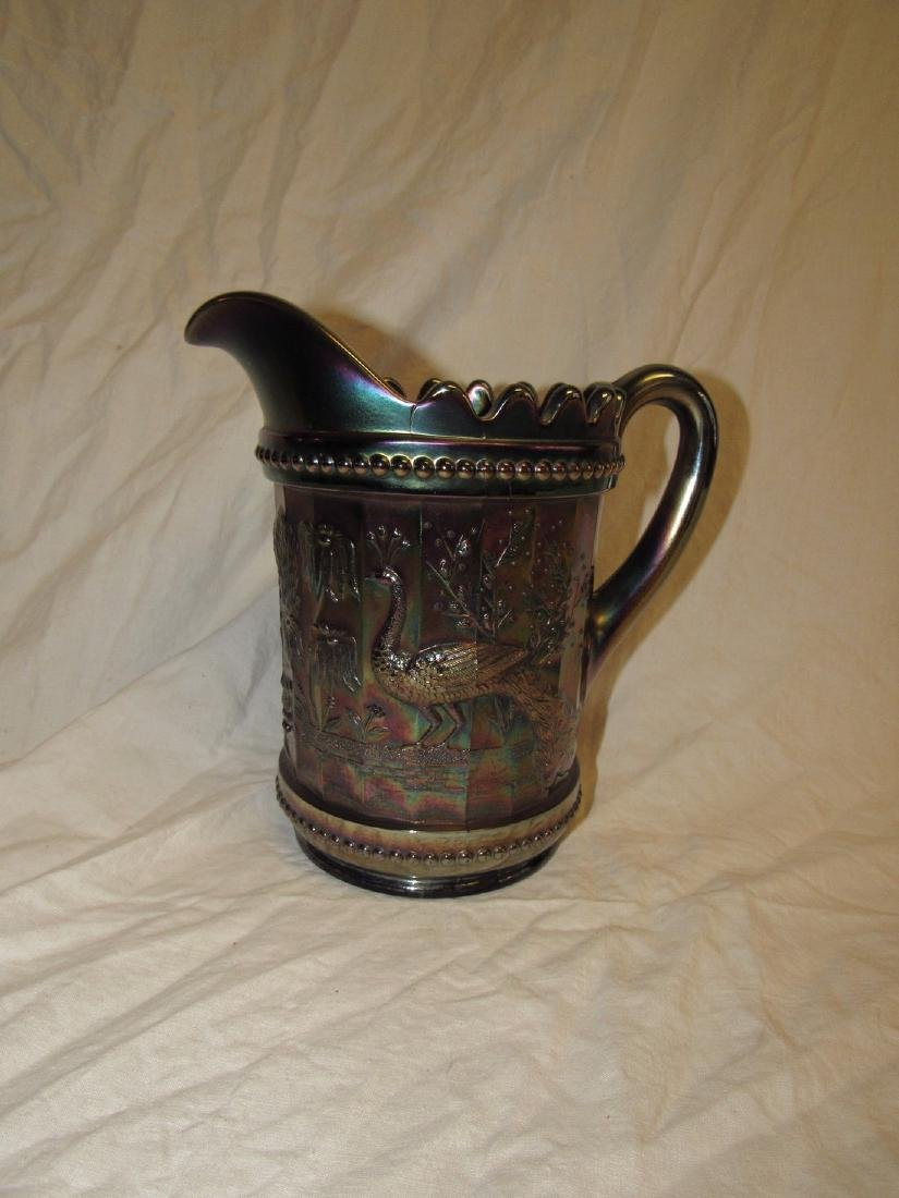 Carnival Glass Peacock Pattern Pitcher