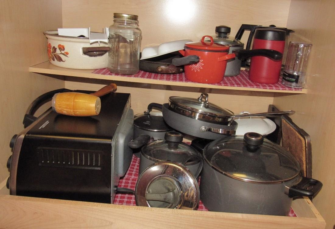Anolon & Misc Pots Pans Kitchen Cabinet Contents