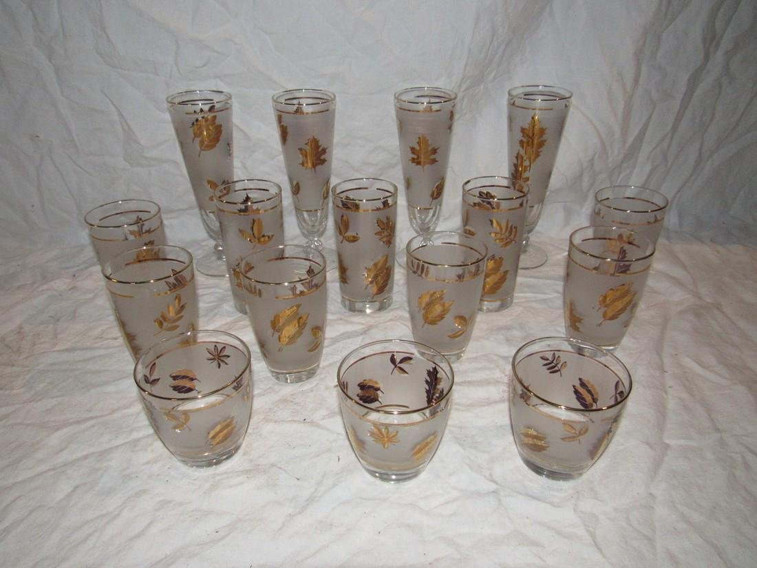 Frosted Retro Gold Leaf Glasses