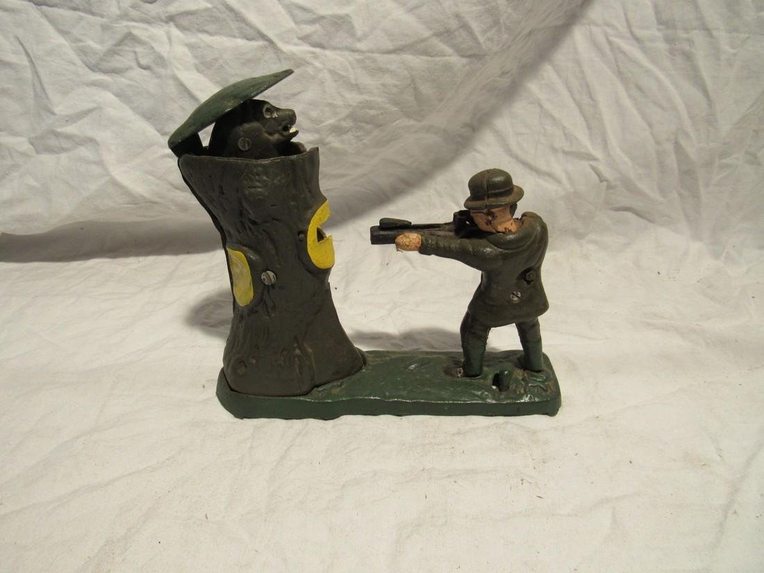Cast Iron Beer Hunting Mechanical Bank