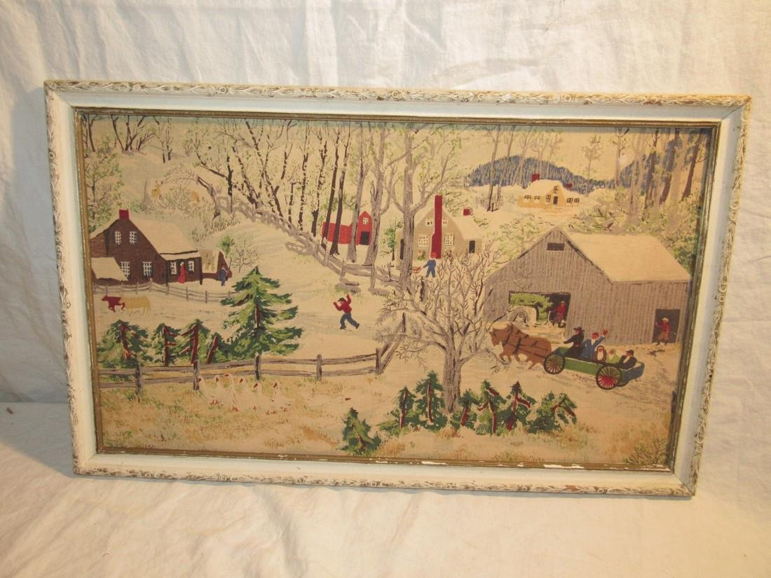 Framed Winter Country Scene Fabric