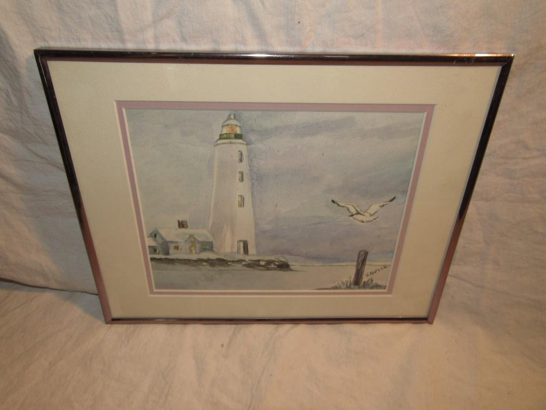 Wilma Butler Lighthouse In Winter Watercolor