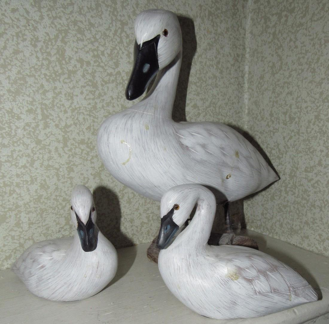3 Carved Wooden Ducks