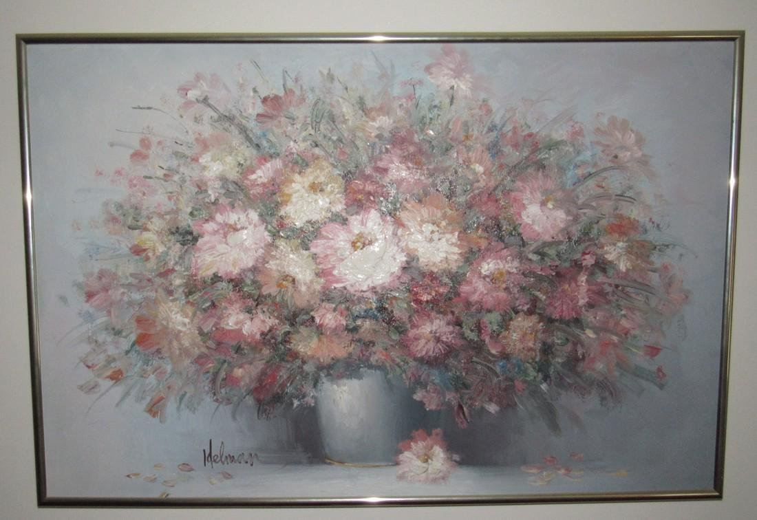 Helman Oil On Canvas Floral Painting