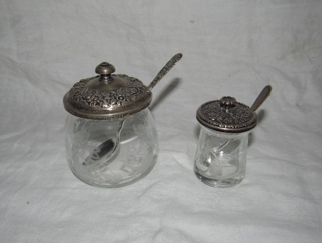 Condiment Jars B Kirk & Son Sterling Silver Lids Spoons
