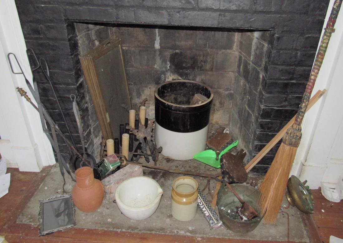 Contents of Fireplace Crock Bellows Tongs