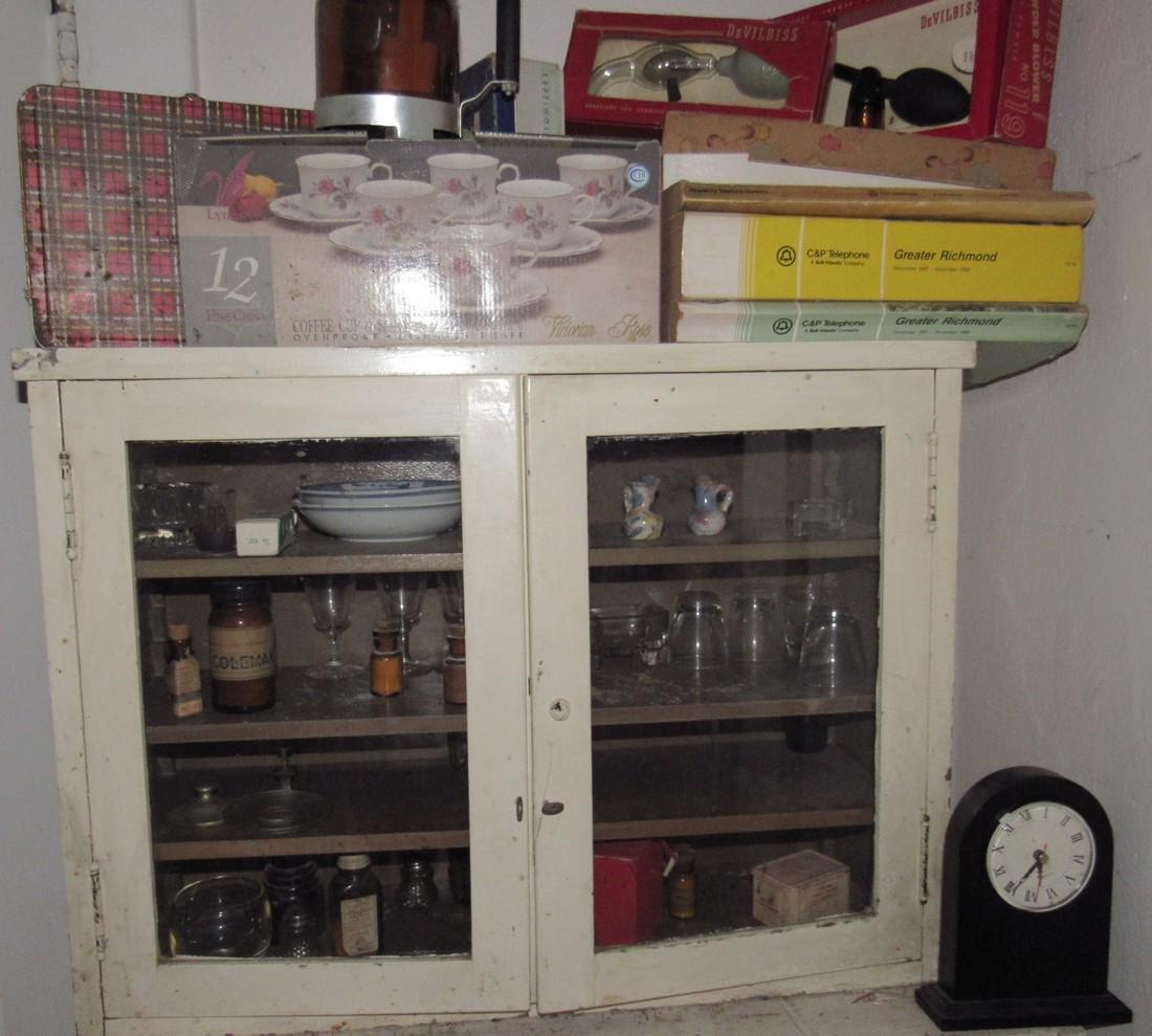 2 Glass Door Cabinet & Contents