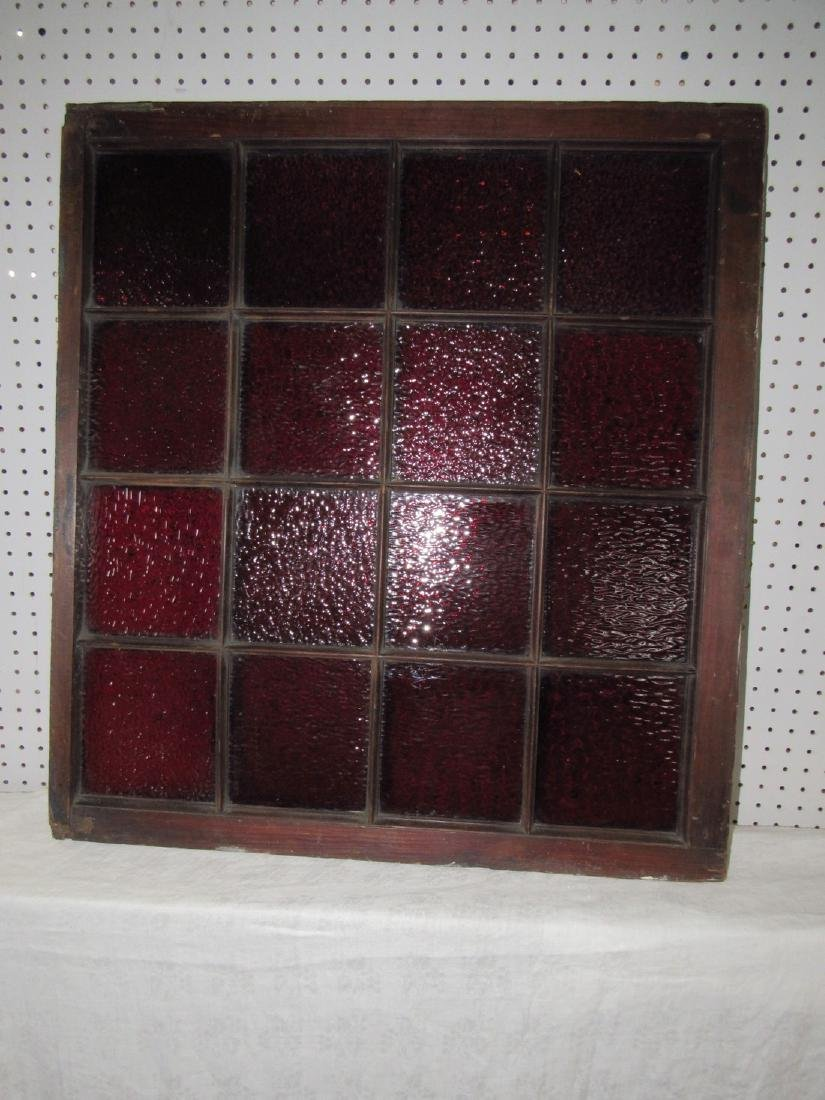 16 Pane Red Stained Glass Window