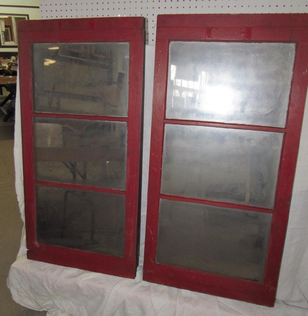 2 Red Painted Window Mirrors