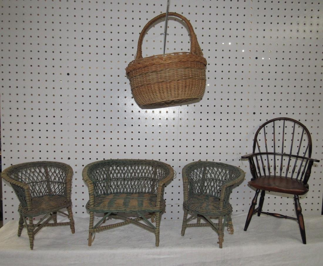 Wicker Doll Furniture & Basket