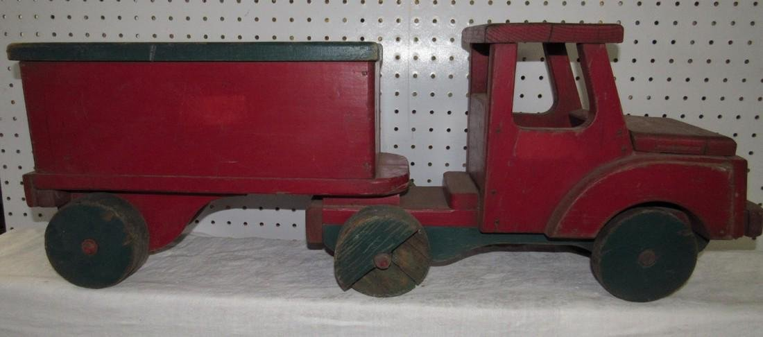 Grandads  Toy Wooden Tractor Trailer Truck
