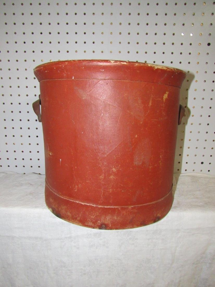 Red Painted Bucket w/ Wooden Base