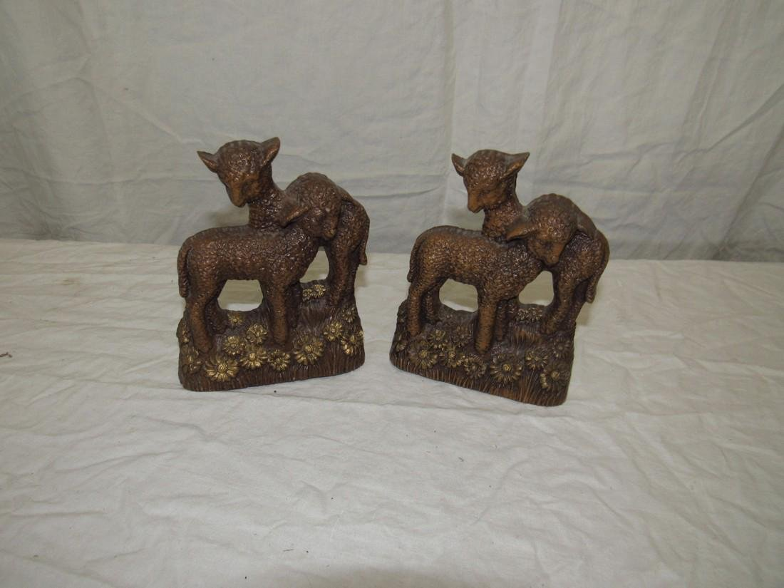 Syroco Wood Sheep Bookends