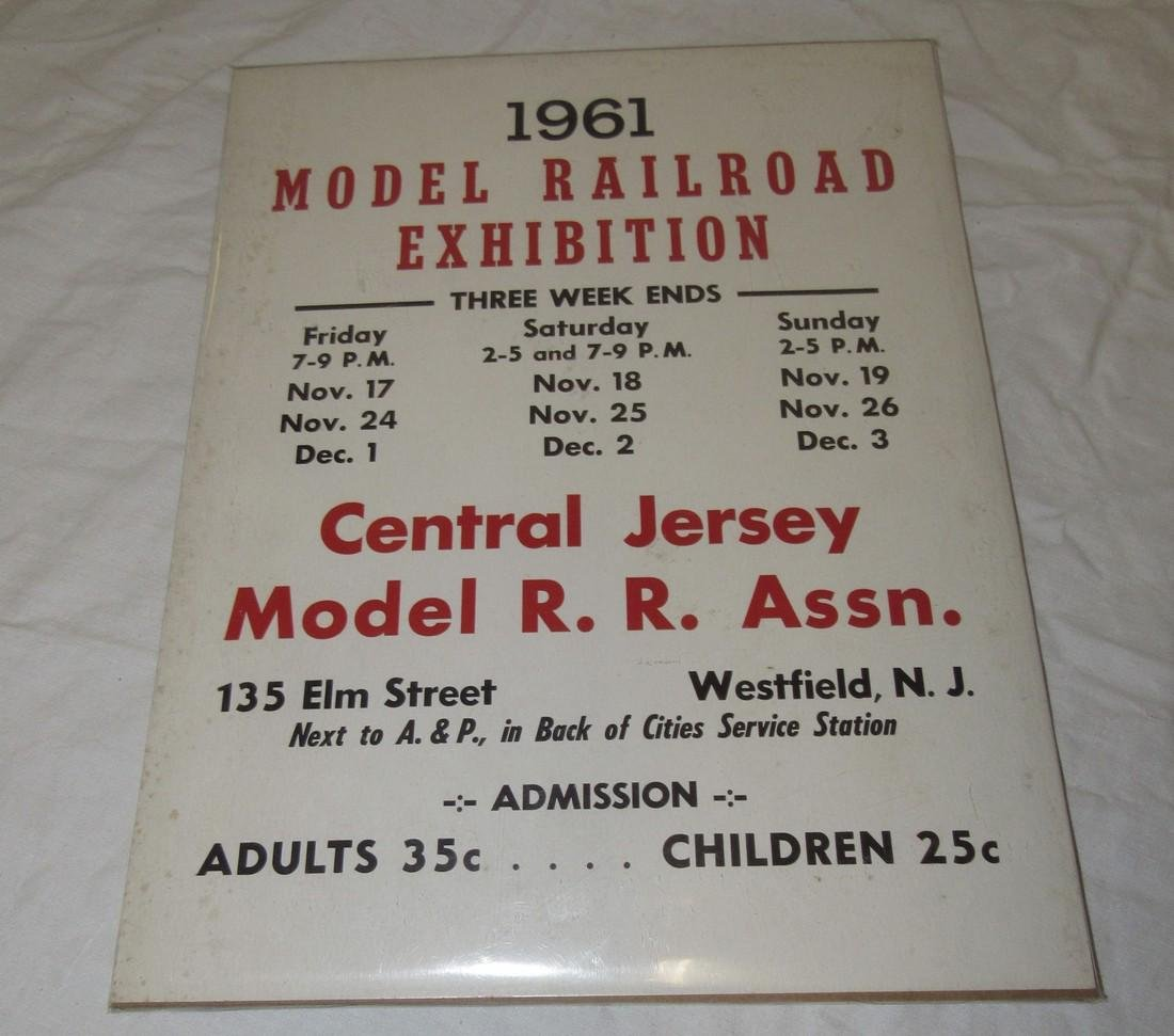 1961 Model Railroad Exhibition Central Jersey Sign