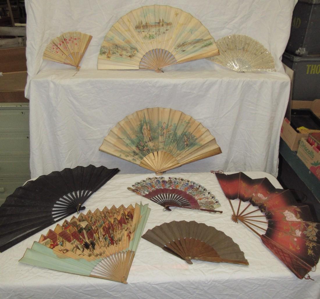 Lot of Antique & Vintage Hand Fans