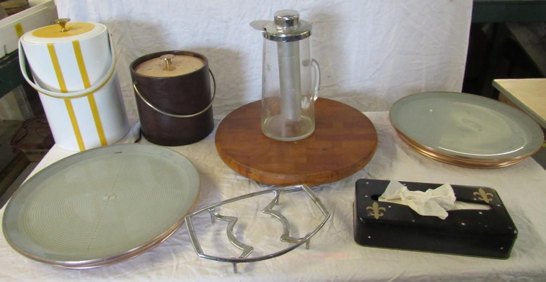 Mid Century Vintage Ice Buckets Pitcher Hot Plates