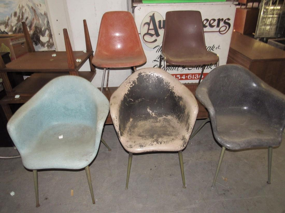 5 Mid Century Modern Plastic Shell Chairs
