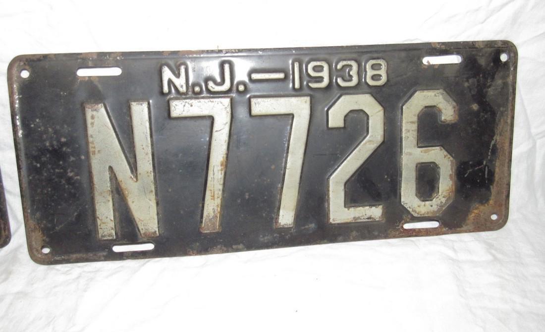 Pair of 1938 NJ License Plates - 3