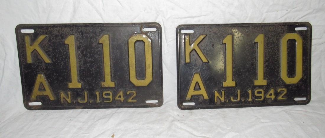 Pair of 1942 NJ License Plates
