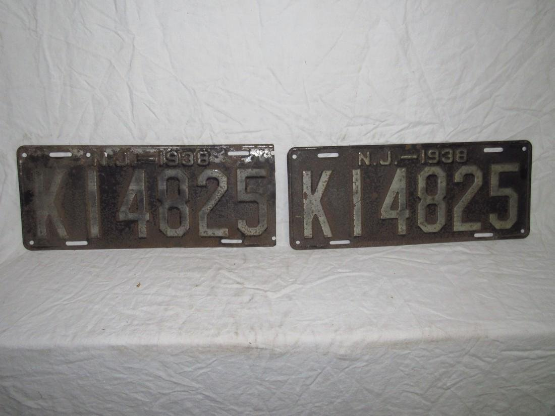 1938 NJ License Plates Set