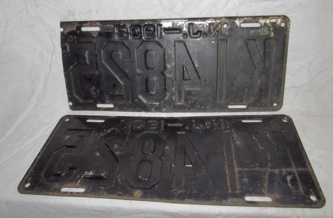 1938 NJ License Plates Set - 3