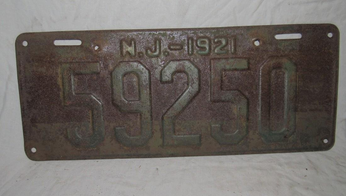 Pair of 1921 New Jersey License Plates - 2