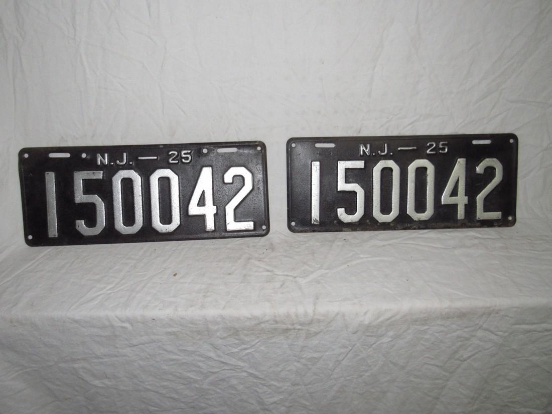 Pair of 1925 NJ License Plates