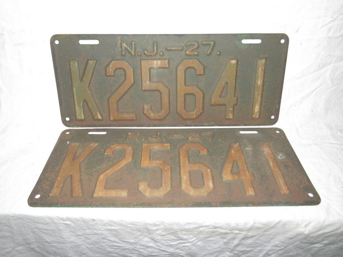 Pair of 1927 NJ License Plates