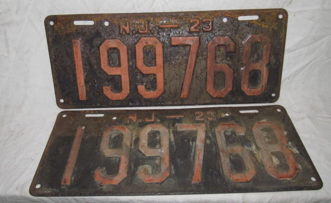 Pair of 1923 NJ License Plates