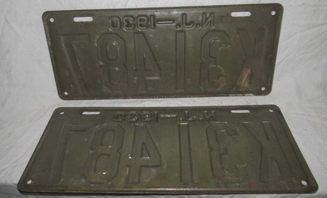 Pair of 1930 NJ License Plates - 2