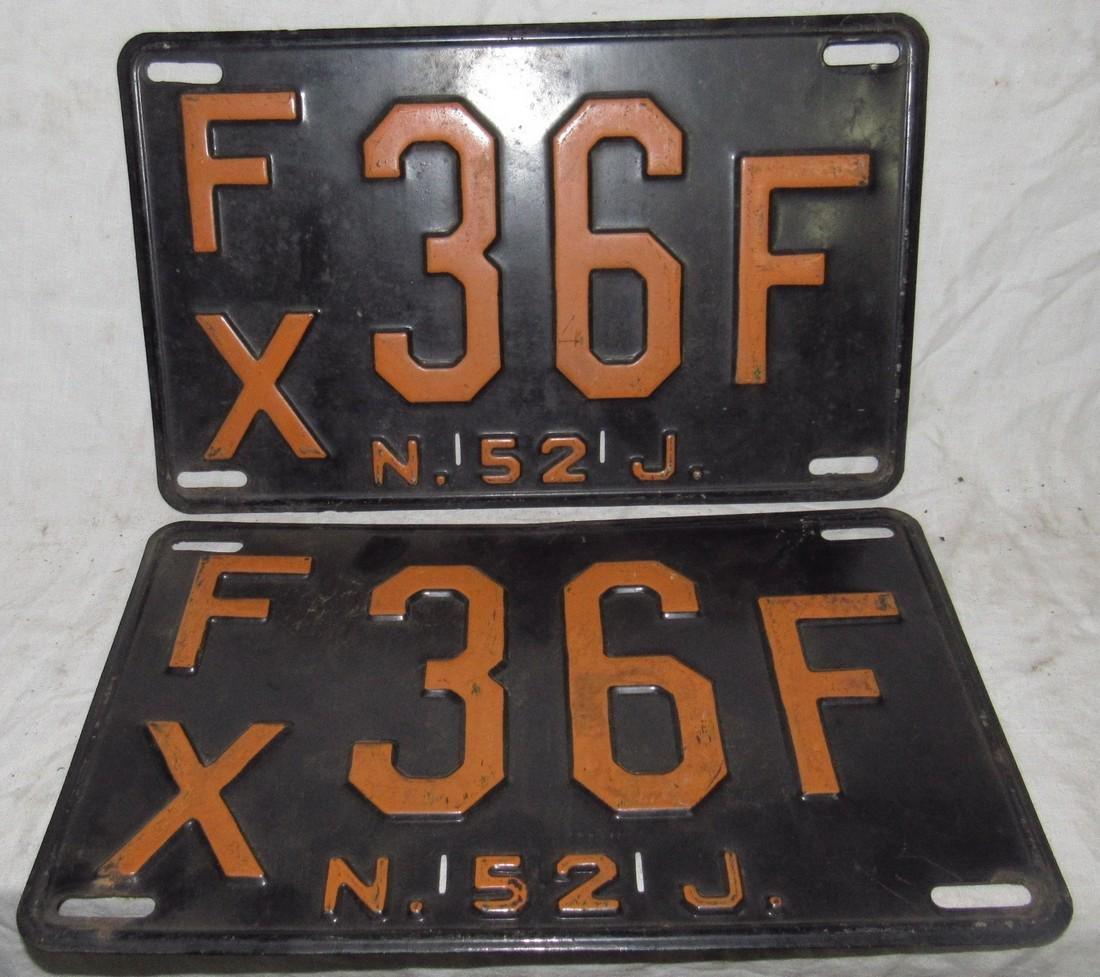 Pair of 1952 NJ License Plates