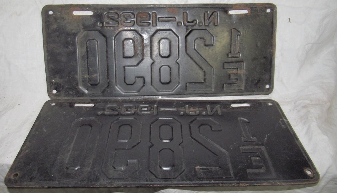 Pair of 1932 NJ License Plates - 2