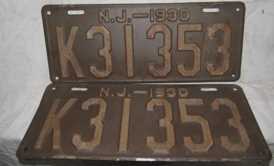 Pair of 1930 NJ License Plates