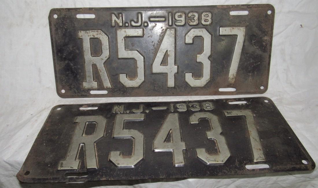 Pair of 1938 NJ License Plates