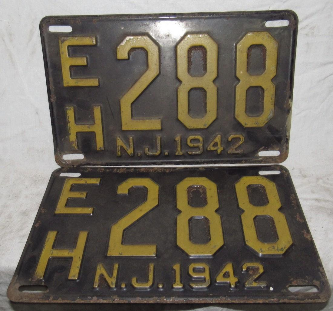 Pair of 1942 NJ License Plates