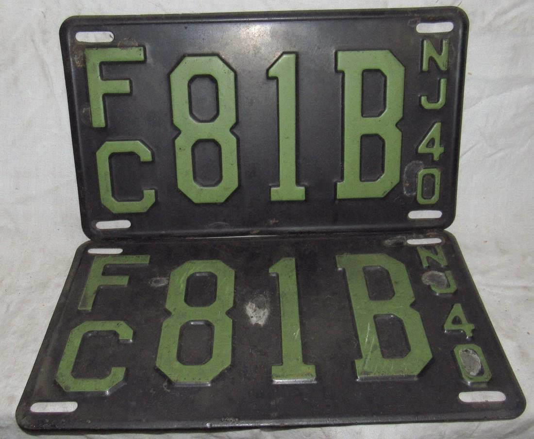 Pair of 1940 NJ Car License Plates