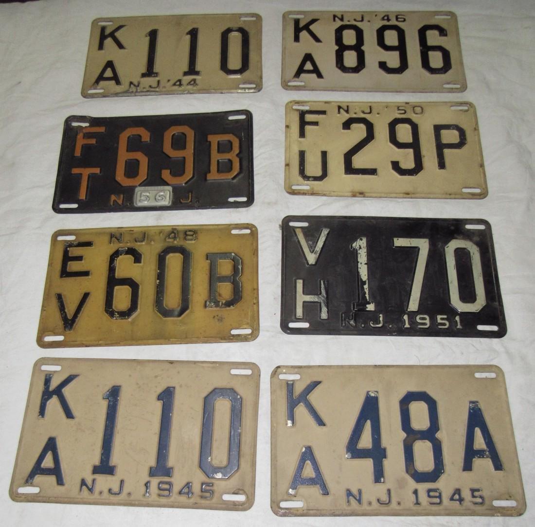 1945 1946 1944 1950 1956 1951 NJ License Plates
