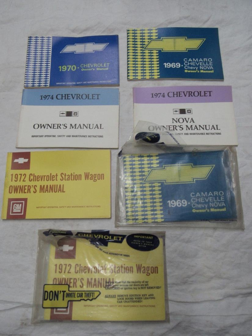 1969 Camaro Chevelle Nova 1974 1970 Owners Manuals