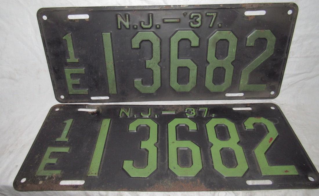 Pair of 1937 NJ License Plates