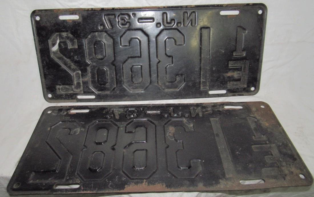 Pair of 1937 NJ License Plates - 2