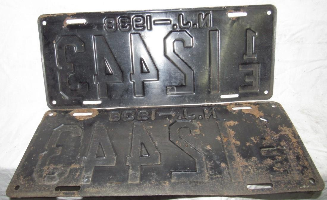 Pair of 1938 NJ License Plates - 2