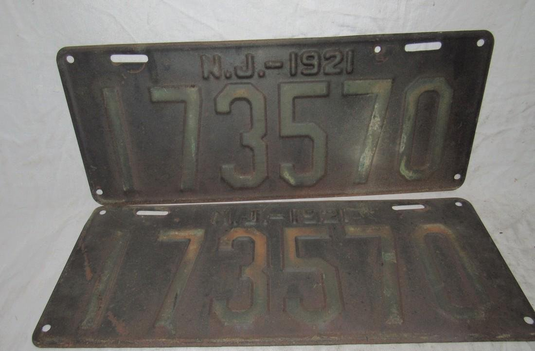 Pair of 1921 New Jersey License Plates