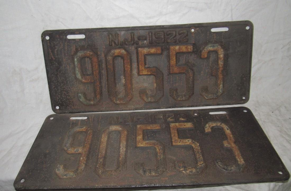 Pair of 1922 NJ License Plates