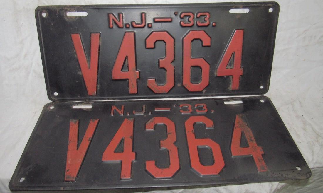 Pair of 1933 NJ License Plates