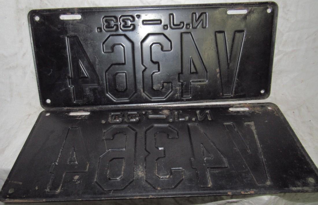 Pair of 1933 NJ License Plates - 2
